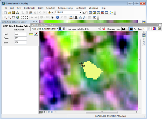 Grid & Raster Editor for ArcMap, edit simultaneous the Red, Green and Blue bands in a multi-band raster by drawing a polygon in ArcGIS Desktop